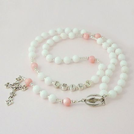 Name Rosary for Girls in White Jade and Pink Pearl